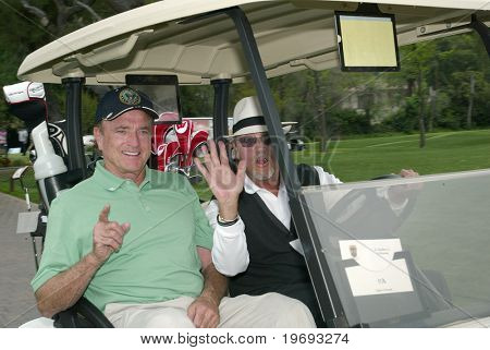 TARZANA, CA - APRIL 18: Kevin Dobson (L) &  Gregory Itzin head out the golf course the 8th annual