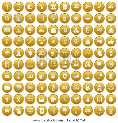 100 security icons set in gold circle isolated on white vector illustration