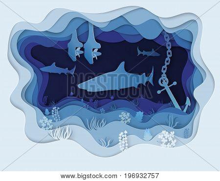 Illustration Of A Formidable Shark On The Hunt