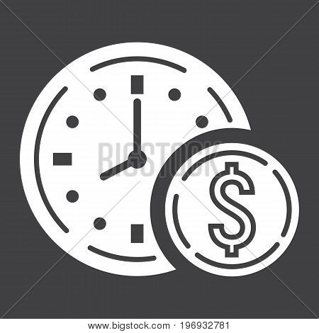Time Is Money glyph icon, business and finance, coin sign vector graphics, a solid pattern on a black background, eps 10.