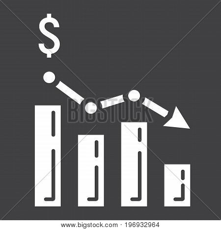Declining graph glyph icon, business and finance, chart sign vector graphics, a solid pattern on a black background, eps 10.