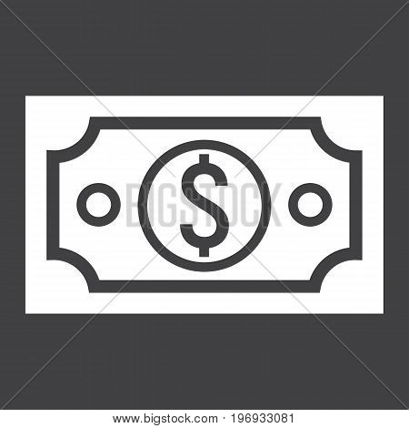 Money dollar glyph icon, business and finance, cash sign vector graphics, a solid pattern on a black background, eps 10.
