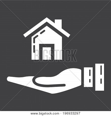 Home in hand glyph icon, business and finance, buy house sign vector graphics, a solid pattern on a black background, eps 10.