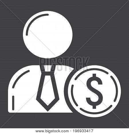 Investor glyph icon, business and finance, businessman sign vector graphics, a solid pattern on a black background, eps 10.