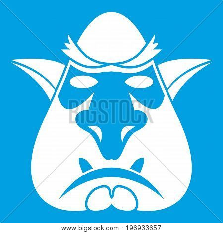 Head of troll icon white isolated on blue background vector illustration