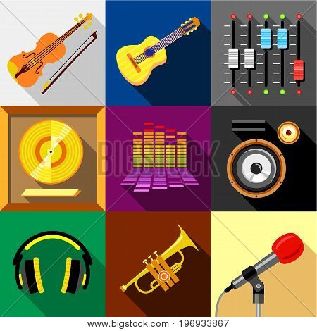 Music icons set. Flat set of 9 music vector icons for web with long shadow