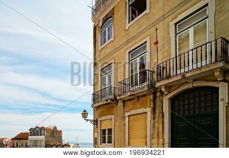 Traditional Lisbon Street View, Old Classic Buildings, Summertime