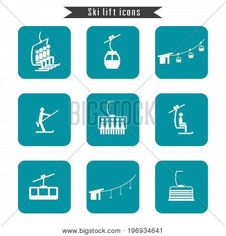 Set of ski cable lift icons for ski and winter sports. Design for tourist catalog maps of the ski slopes placard brochure flyer booklet. Vector illustration.