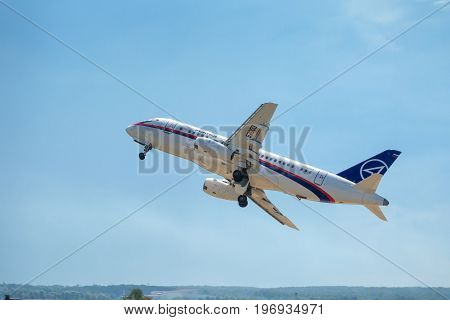 Moscow Region - July 21, 2017: Russian passenger plane Sukhoi Superjet-100 takes off at the International Aviation and Space Salon (MAKS) in Zhukovsky.