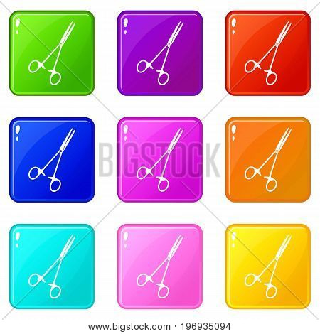 Medical clamp scissors icons of 9 color set isolated vector illustration