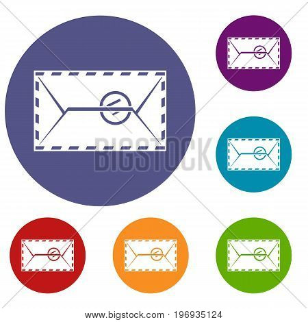 Mail envelope with a stamp icons set in flat circle red, blue and green color for web