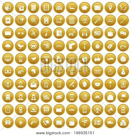 100 smartphone icons set in gold circle isolated on white vector illustration