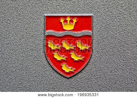 EAST SUSSEX UK - MAY 31ST 2017: A close-up of the East Sussex County Council Coat of Arms on 31st May 2017.