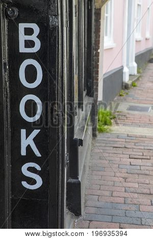A Books sign at a traditional bookshop.