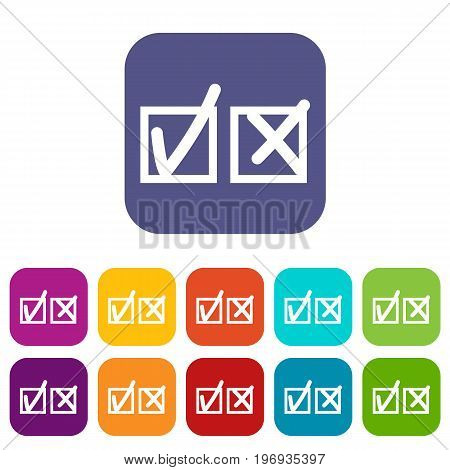 Checkmark to accept and refusal icons set vector illustration in flat style in colors red, blue, green, and other