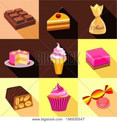Sweets icons set. Flat set of 9 sweets vector icons for web with long shadow