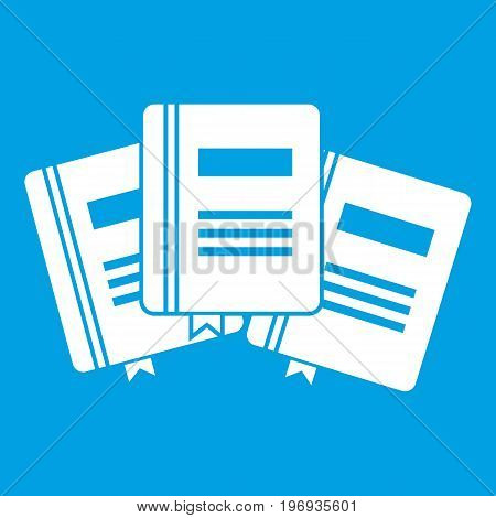 Three books with bookmarks icon white isolated on blue background vector illustration
