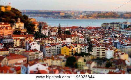 Beautiful Colorful Sunset Landscape Aerial View Of Lisbon, Miniature Tilt-shift View