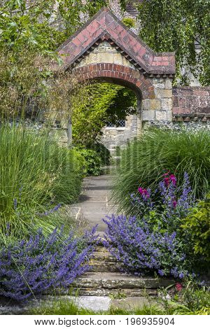 LEWES UK - MAY 31ST 2017: A view in Southover Grange Gardens in the historic town of Lewes in East Sussex UK on 31st May 2017.