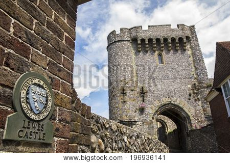 LEWES UK - MAY 31ST 2017: A view of Barbican Gate at the historic Lewes Castle in East Sussex UK on 31st May 2107.
