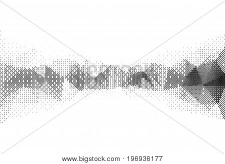 Vector illustration of monochrome particle pattern moving shape for big data visualization. Futuristic infographic on white background