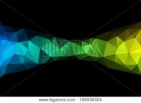Vector illustration of color triangle geometric pattern with lines and dots on black backround