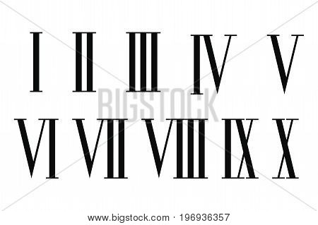 Roman numerals set isolated on white background.