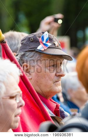 BERLIN - MAY 08 2015: Victory in Europe Day. Treptower Park. Participants of commemorative events.