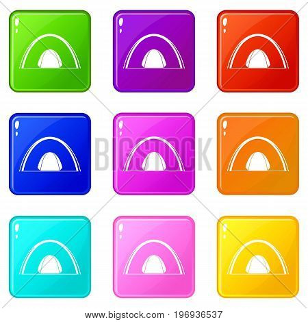 Camping dome tent icons of 9 color set isolated vector illustration