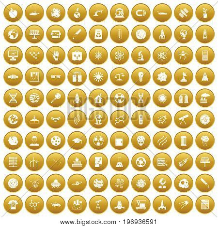 100 space technology icons set in gold circle isolated on white vector illustration