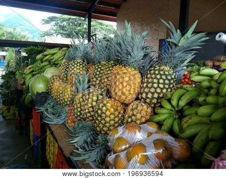 Fresh Pineapples being sold at an open flea market in Panama