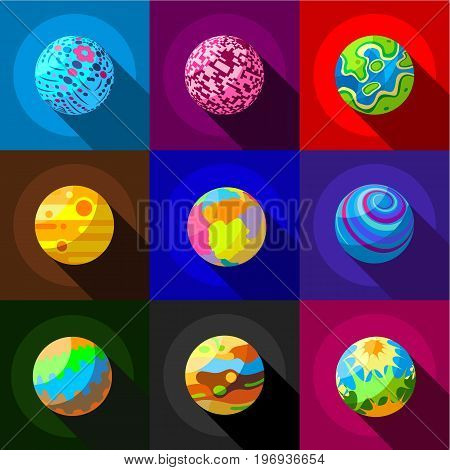 Space planets icons set. Flat set of 9 space planets vector icons for web with long shadow