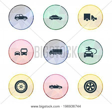Elements Siren, Cargo, Carting And Other Synonyms Carting, Race And Rotation.  Vector Illustration Set Of Simple Auto Icons.