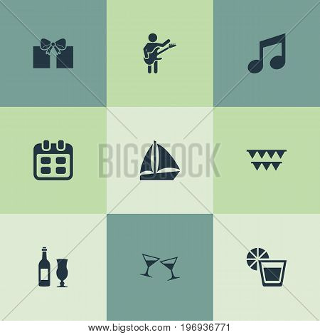 Elements Garland, Date, Wineglasses Synonyms Present, Calendar And Fresh.  Vector Illustration Set Of Simple Banquet Icons.