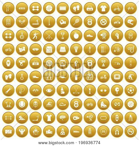 100 sport icons set in gold circle isolated on white vector illustration