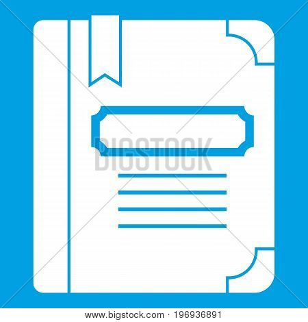 Tutorial with bookmark icon white isolated on blue background vector illustration