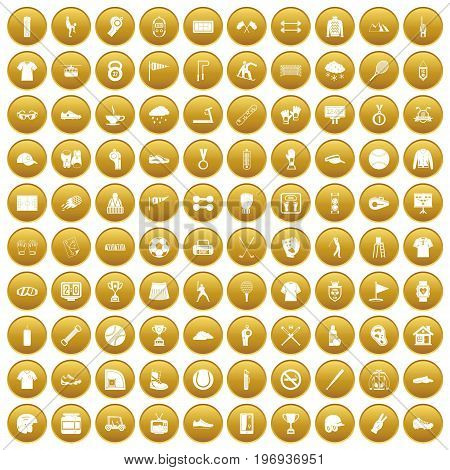 100 sport club icons set in gold circle isolated on white vector illustration