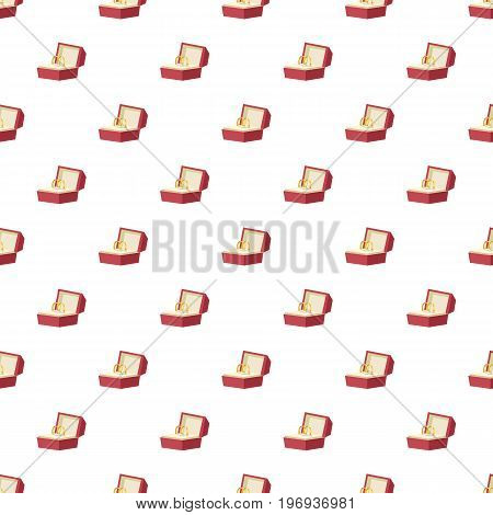 Wedding rings in a red box pattern seamless repeat in cartoon style vector illustration