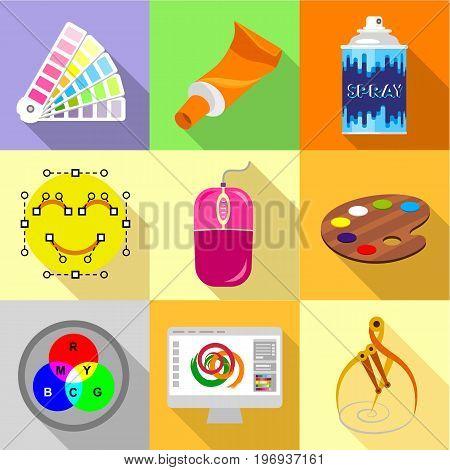 Web designer tools icons set. Flat set of 9 web designer tools vector icons for web with long shadow