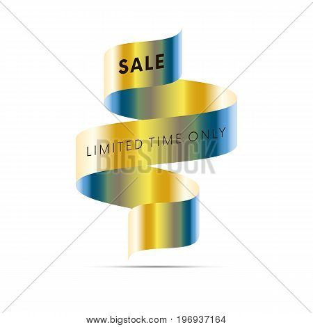 Sale banner limited time only black text on gold and blue gradient ribbon isolated on white background. Vector illustration.