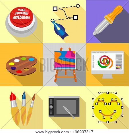 Art school icons set. Flat set of 9 art school vector icons for web with long shadow