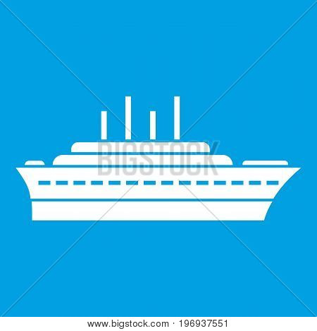 Ship icon white isolated on blue background vector illustration