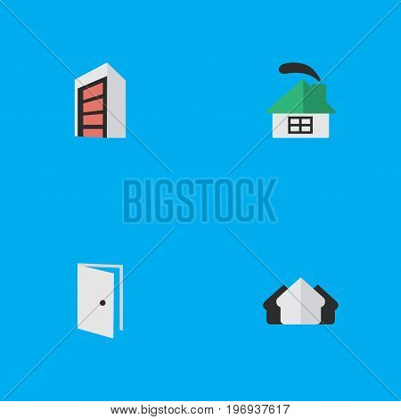 Elements Property, Construction, Entry And Other Synonyms House, Building And Property.  Vector Illustration Set Of Simple Estate Icons.