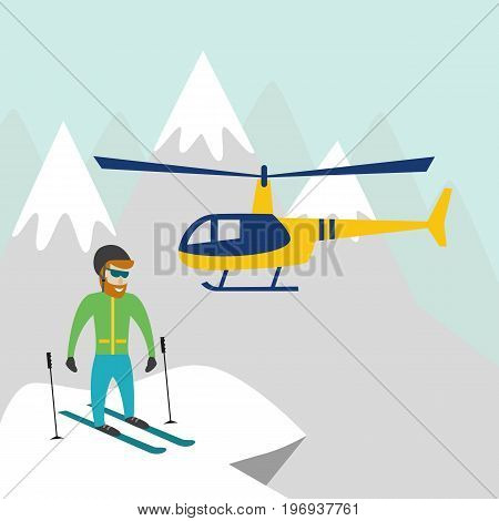 Heli skiing. Heliskiing flat illustration with helicopter mountains and skier. Vector illustration.