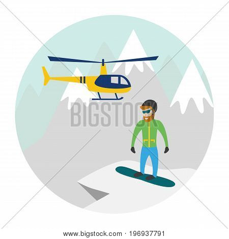 Heli skiing. Heliskiing flat illustration with helicopter mountains and snowboarder. Vector illustration.