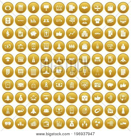 100 startup icons set in gold circle isolated on white vector illustration