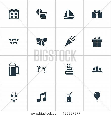 Elements Surprise, Carbonated Drink, Community And Other Synonyms Celebration, Decoration And Tumbler.  Vector Illustration Set Of Simple Party Icons.