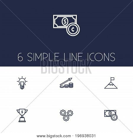 Collection Of Achievement, Working Process, Success And Other Elements.  Set Of 6 Startup Outline Icons Set.