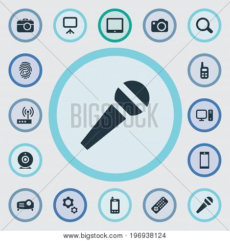 Elements Show, Projector, Fingerprint And Other Synonyms Options, Contact And Mobile.  Vector Illustration Set Of Simple Gadget Icons.