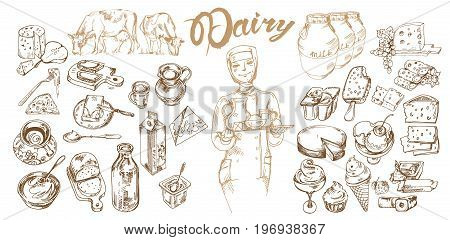 Hand drawn dairy products set with healthy organic sweet food meals and drinks isolated vector illustration
